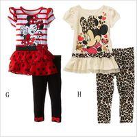 Wholesale Pettiskirt Sets Wholesalers - 18 styles minnie kids clothes Baby Dress girls clothing sets baby girl cartoon t-shirt+ pettiskirt set Summer Micky clothes