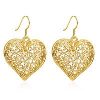 18 k altın kaplama askısı küpeleri toptan satış-Büyük Hollow Out Kalp Şekli Dangle Avize Küpe Çiçek Desen Güzel Küpe 18 K Altın Kaplama Kulak Kancası Için Romantik Takı Lady