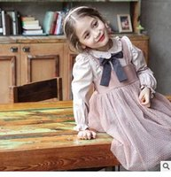 Wholesale Wholesale Kids Fashion Clothing - Children Princess Shirts Girls Cotton Lace Lapel Removable Bows Blouses Autumn Kids Long Sleeve Tops Girls Preppy Style Clothes C1389