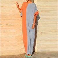 Wholesale Long Sleeve Gray Batwing Dress - 2016 Summer Casual Dresses Hit color stitching bat sleeve Wrap Dress Plus size Sundress Loose Long Dress Cheap Women Maxi Dresses