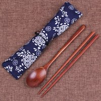 Wholesale Personalized Chopstick - Wood Chopsticks And Spoon With Pattern Bag Packaging Creative Personalized Wedding Favors Gifts Party Return Gift