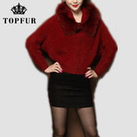 Wholesale New Mink Coats Women - Wholesale-Free Shipping 2016 New Real Natural Mink Fur Coat with Genuine Fox Fur Collar with zipper short jacket Top rated style FP387