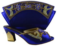 Wholesale Nice Handbags - Nice looking women's pumps with big stone flower decoration African shoes with handbag sets for party 1308-L60 royal blue,high heel 7.5cm