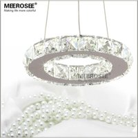 Wholesale Wedge Rings - LED Crystal Chandelier Lamp Stainless Steel Crystal Round Ring Chandelier 8W LED Diamond Light for Dinning Room Free Shipping