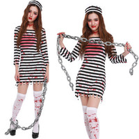 Wholesale Halloween Costumes For Zombies - 2017 Hot Selling Halloween Vampire Dress for Women Costume Stripes Zombie Dress Cosplay Clothing RF0169