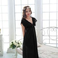 Wholesale Nightgown Nightdress Girl Lace - Wholesale-Free shipping women lace nightdress girls pajamas long plus size bathrobe Large size Sleepwear nightgown night black M1801-2