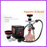 Single Metal  2016 Newest design square e head ehead e-head,e hose mini ehose e shisha square cartridge refillable e hookah disposable hookah DHL