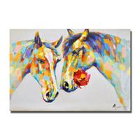 lona pintura a óleo cavalos emoldurado venda por atacado-Top qualidade de parede fotos sem mão emoldurado pintado a cavalo chinês pintura a óleo barato moderna arte da lona