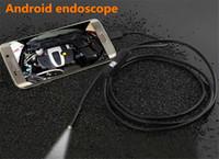 ingrosso tubo di serpente dell'ispezione dell'endoscopio del borescope-Impermeabile 720P HD 7mm lente Tubo di ispezione 1m Endoscopio Mini USB Camera Snake Tube con 6 LED Boroscopio per Android Phone PC