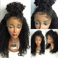 Wholesale Yaki Body - Natural Hairline Human Hair Wigs With Baby Hair Unprocessed Kinky Curly Brazilian Full Lace Wigs Human Curly Lace Front Wig For Black Women