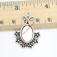 Wholesale flower frames for photos - 15pcs Antique Silver Plated Flower Oval Photo Frame Charms Pendants for Necklace Jewelry Making DIY Handmade Craft 32x23mm