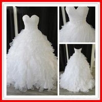 Wholesale Real Samples Wedding Dresses - Custom Made Elegant Tiers Real Sample White Organza Sweetheart Ball Gown Chapel Empire Ruffles Beaded Wedding Dresses