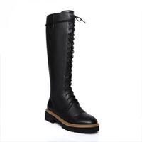 siyah dantel diz kadar yüksek bot toptan satış-sahip olmalı! yüksek kalite! fashionville * b071 34 siyah hakiki deri lace up diz yüksek düz askeri botlar