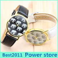 Discount without dress womens - 2016 New Arrival Casual Ladies Womens Dress Watch Elephants Printing Gold Round Case Faux Leather Band Analog Quartz Wristwatch