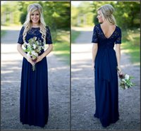 Navy Blue Country Style Bridesmaid Dresses 2016 с коротким рукавом Vintage Lace A Line шифон летнего пляжа Long Maid of Honor Gowns BA2969