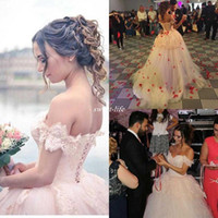 Wholesale Puffy White Corset Wedding Dresses - Beautiful 2016 Lace Arabic Blush Ball Gown Wedding Dresses Off Shoulder Corset Backless Puffy Skirt Bridal Gowns Wedding Dress Custom Made