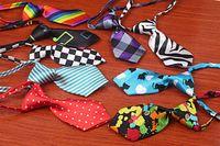 ingrosso dog collar bow-Nuovo Trasporto Libero 100 pz / lotto All'ingrosso Colore Mix Poliestere Seta Pet Dog Cravatta Regolabile Papillon Bello Collare Pet Regalo Sveglio