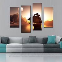 Wholesale sailing ship oil paintings resale online - 4 Panel Sailing Ship On Quiet Water And Around Mountain Wall Art Painting Impressionist Picture On Canvas Print For Home Decor