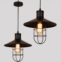 Wholesale Black Lampshade New - Vintage iron Lampshade American Loft Style Industrial Cage Pendant Light for Coffee Bar Restaurant decoration New Free Shipping