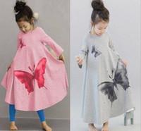 875ce4ec49 Vestido largo Tutu de la manga de la muchacha de la moda de Japón Vestido  largo estampado de la mariposa O cuello largo Maxi viste la ropa de los  niños