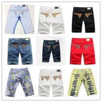 Wholesale Orange Denim Shorts For Men - 2016 Famous brand Robin short jeans men tide summer designer robin jeans for male true biker fashion short robin rock revival jeans 22 color