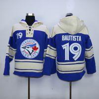 Wholesale Blue Logo Sweater - Toronto Blue Jays Mens Sweaters #19 Jose Bautista Blue Baseball Jersey Hoodies Embroidery Logos,All Stitched 2825