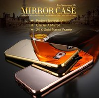 Wholesale Iphone Golden Cover - Luxury Aluminum Metal Bumper Detachable Frame Cases Golden Mirror Acrylic Hard Back Cover for Iphone 7 plus 6s 5s,Samsung Galaxy S8 S7 6edge