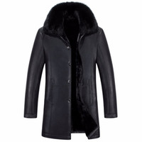 Wholesale Short Rabbit Fur Coats - Male PU Leather Jackets Fur Inside Winter Outwear Coats Real Rabbit Fur Collar Snow Long Jackets Outdoor Overcoat Warm Thickening 4XL