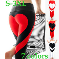 Wholesale Heart Design Leggings - Fashion Women Special Design Love Yoga Leggings Heart Booty Pants Running Tights Crop Workout Pants 7 Colors