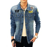 Wholesale Jaqueta Jeans Masculina - Wholesale- 2017 new Denim Jacket Men Overcoat Casual Bomber Jeans Jackets Patchwork Mens Hole Jaqueta Masculina Veste Homme Brand Clothing