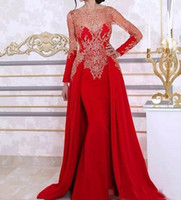 Wholesale Training Linen - 2018 Arabic Kaftan Dubai Red Mermaid Evening Dresses Long Sleeves Lace Beading Sequin Formal Prom Gown With Detachable Train