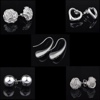 Wholesale Popular Beads - Top Quality Popular 925 Sterling Silver Stud Fashion Jewelry Lady Girl Solid 6mm 8mm 10mm Bead Women Earrings Jewelry Heart Earring
