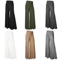 Wholesale wholesale velour pants - Women Casual High Waist Loose Wide Leg Long Pants Palazzo Dance Trousers S-2XL WK5008