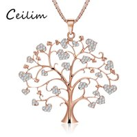 Elegant Flower Tree Of Life Sweater Chain Necklace para mulheres Long Love Heart Colar de pingente de cristal Rose Gold Color Fashion Jewelry Lover