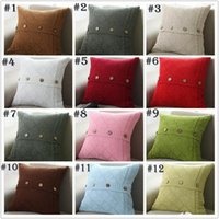 Wholesale Cushion Cover Plain - 17 colors Pillow Cover Button Knitted Twist Decorative Cable Knitting Patterns Cushion Cover Square Pillow Case 45X45CM Xstmas Gifts YYA899