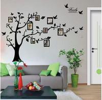 material removível venda por atacado-Árvore Etiqueta 3D na parede preta Art Photo Frame Memória árvore adesivos de parede Home Decor Família Decalque