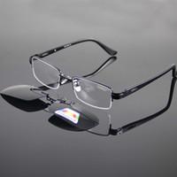 Wholesale deep frames - New Polarized Sunglasses Clipon Magnetic Deep Green Eyeglasses Sun Glasses Eyewear Shade Metal Monel Frame Semirim Temple Antiglare UV592