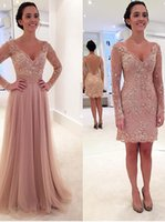 Wholesale Sleeved Chiffon Prom Dresses - Princess Long Sleeves V-neck Tulle Prom Dress with Detachable Train Chiffon Backless Evening Dresses Sleeved Removable Skirt 2016