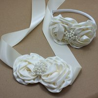 Wholesale Ivory Satin Flower Headband - Ivory satin rose Flower Sash and headband with pearl wedding Bridal rosette Belt Dress gown sash girl dress hair accessories