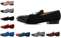Wholesale Embroidery Borders - Brand Red Bottom Loafers Luxury Party Wedding Shoes Designer BLACK SUEDE Embroidery with Spikes Studded flats dress shoes for mens womens
