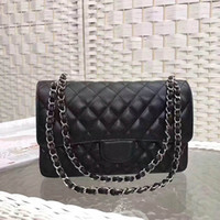Wholesale Genuine Leather Horizontal - Wholesale Luxury Famous Classic Fashion Packages Leather Buckles Horizontal rectangular packages Shoulder Bags Black CF Double Flap Bags