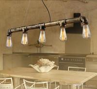 vintage wasserpfeifen groihandel-Retro Edison führte Pendelleuchte Vintage Eisen 3/5 Köpfe Wasserleitung Hängeleuchte Bar Esszimmer KTV Restaurant Dekoration