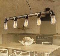 Wholesale hanging bar lights resale online - Retro Edison led pendant light vintage iron heads water pipe hanging light Bar dining room KTV restaurant decoration