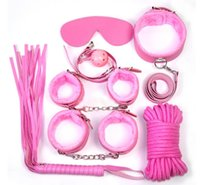 Wholesale Sexy Whippings - Sex Bondage Kit Set 7 Pcs Sexy Product Set Adult Games Toys Set Hand Cuffs Footcuff Whip Rope Blindfold Couples Erotic Toys