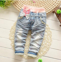 Wholesale Bow Knot Jeans - 2016 Spring New Arrival Butterfly Knotted All-match baby Long Pants girl pants kids clothes baby girls jeans baby harem pants