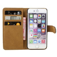 Wholesale Cell Phone Cases Pockets - Luxury Flip PU Leather Wallet Pocket Cell Phone Cover Case With Credit Card Holder For iPhone 6 6S