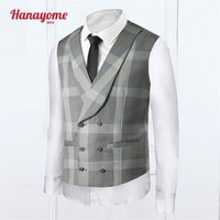 Wholesale Men Colored Blazer - Wholesale-Grey Plaid Vest 2016 Men Wedding Tuxedos Mens Colored Suits Trajes De Hombres De Vestir Men's Plaid Blazer Suit Light Grey