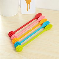 Wholesale Wholesale Coffee Sticks - New Arrive Cute Smile Face Silicone Honey Spoon Honey Stick Tea Long Handle Mixing Stick Coffee Sticker Spoon