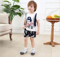 Wholesale T Shirt Breast Pocket Wholesale - 2016 Baby Boys Clothing Sets Children Cartoon Chaplin False Two-Piece Short Sleeve T-shirt+Camouflage Shorts 2pcs Kids Outfits Boy Suit