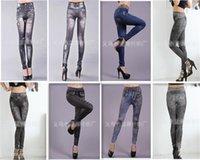 Wholesale Tattoos Lycra - 2016 Hot Sale Women Sexy Tattoo Jean Look Leggings Punk Sport Academies Apparel Jeans seamless printing Big yards ultra elastic pants 50